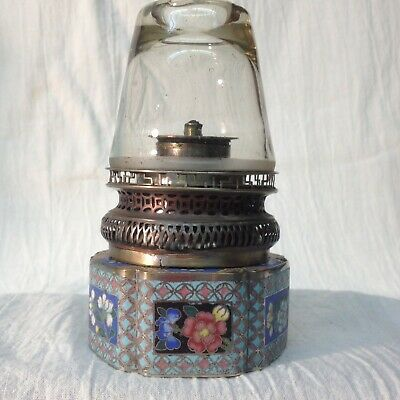 Antique Chinnese Qing Cloisonne Enamel Brass Copper Opium Lamp With Glass Shade