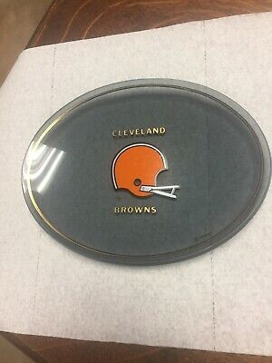 """Vintage 1977 Houze Art NFL Cleveland Browns Smoked Glass Dish Plate 8.25"""""""