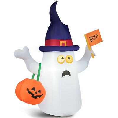 5' Inflatable Blow Up Ghost Halloween Season w/Flag Pumpkin Indoor& Outdoor