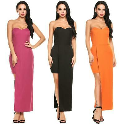 Women Sexy Strapless Off Shoulder Padded Solid Asymmetrical Bodycon Maxi ILOE 01