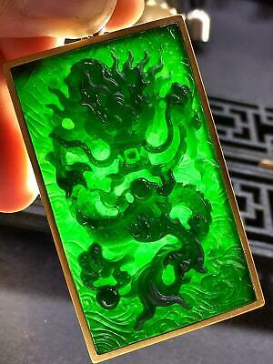 Chinese Exquisite Handmade Inlay Black Jadeite Dragon Pendant