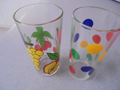 2 x Vintage Nutella Collectable Glasses   Spots/Dots  and Fruit