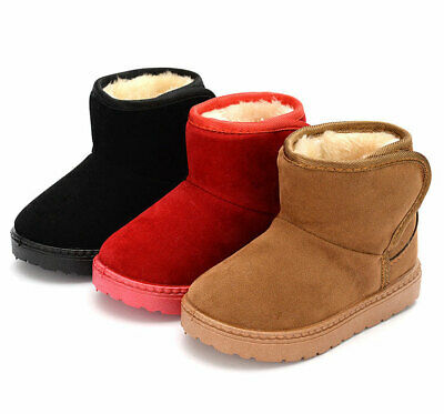Girls Kids Boys Furry Lined Soft  Ankle Boot Snow Boots Winter Warm Shoes Suede