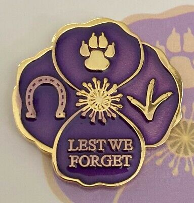 Purple Poppy Lapel Pin* Remembering Our Animals On  *Remembrance Day. 25mm NEW