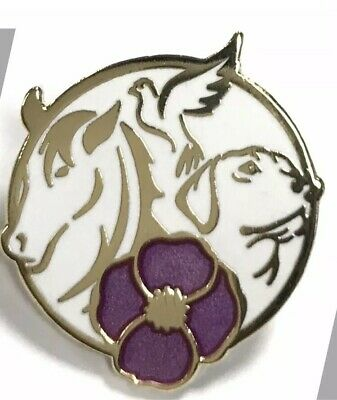 Purple Poppy Lapel Pin* Remembering Our Animals On  *Remembrance Day 28x24mm NEW