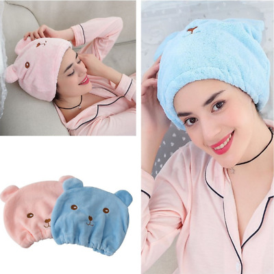Cute Cartoon Microfiber Hair Turban Shower Cap Quickly Dry Hair Shower Hat Cap