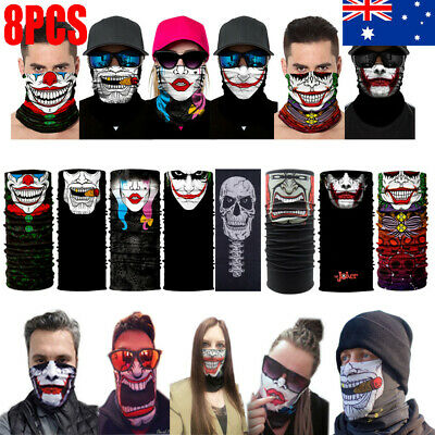 8pcs Face Mask Bandana Neck Scarf Headwear Fishing Cycling Ski Tube Scarf AU