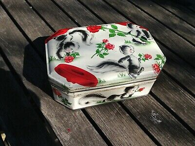 Vintage Octagonal Tin Box. Besters Sweets With Cute Animal Design.