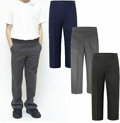 Age 1-13 Boys School Trousers Zip Clip Black Grey Navy Teflon Coated New Stock