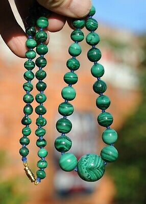 Fabulous Necklace of Antique Victorian Malachite w/Large Centrepiece Bead