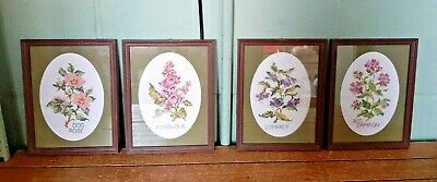 Collection 4 Completed Framed Cross Stitch Pictures of English Flowers B5