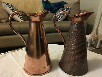 VINTAGE Joseph Sankey JS&S Crocodile Skin SOLID COPPER WATER JUG Pitcher
