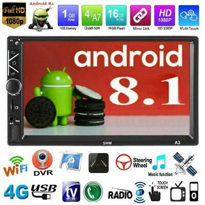 """Double 2Din 7"""" Android 8.1 Car Stereo MP5 Player Bluetooth WiFi GPS FM Radio Aux"""