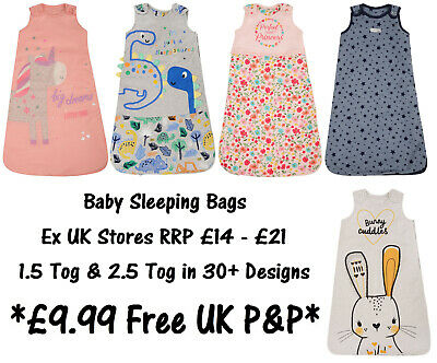 BABY SLEEPING BAG BOYS GIRLS EX UK STORE 1.5 & 2.5 Tog COTTON 0-24M BRAND NEW
