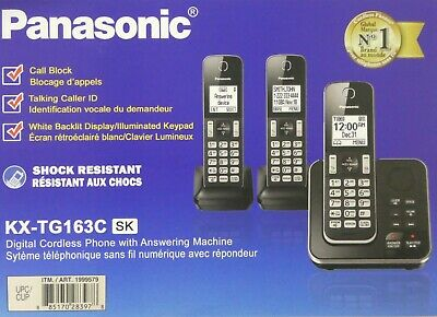 Panasonic KX-TG163K C Cordless Telephone System 3 Handset Answering Machine