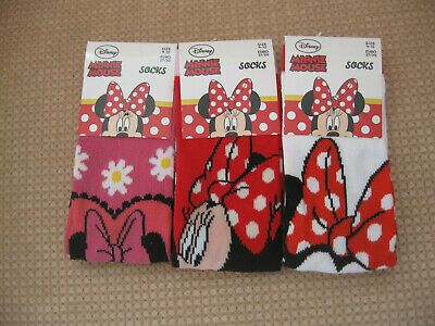 Pack of 3 Girls Minnie Mouse Socks, sizes 6-8.5, 9-12,12.5-3.5