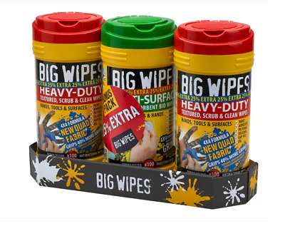 XMS19WIPES Big Wipes (Triple Pack +25% Extra Free) 4x4 Heavy-Duty Cleaning Wipes