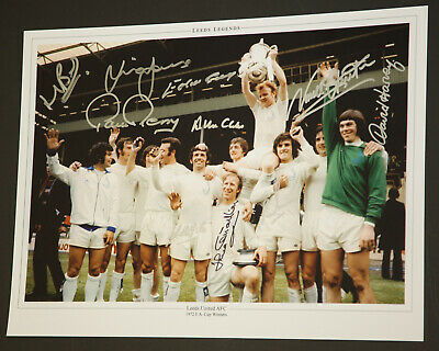 Leeds 1972 Team 12x16 Photograph Hand Signed By 10 Players