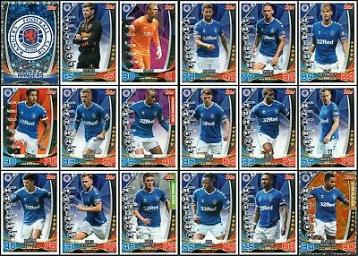 TOPPS SPFL MATCH ATTAX 2019/20 19/20 RANGERS 18 CARD TEAM SET inc BADGE