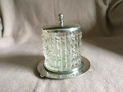 Antique Silver EPNS Glass Mustard/Jam Pot