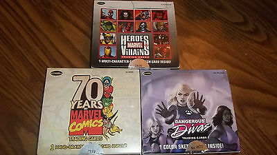 3 box lot Dangerous Divas, Marvel 70th, and Heroes & Villains 72 Sealed Packs