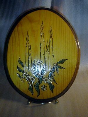 Carved Scene Wood Plaque VTG Candles Flowers Handmade HandPainted Signed Decor