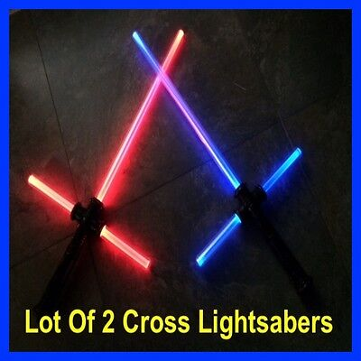 LOT OF 2 STAR WARS FX SOUND LIGHTSABER Kylo Ren Style Force FX Cross Sword Toy