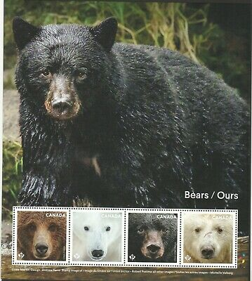 Canada 2019 Our Bears Souvenir Sheet Of 4 Stamps In Mint Mnh Unused Condition