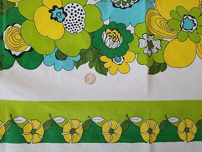 Vintage Groovy Floral Cotton Tablecloth Green Aqua Yellow White 54x71