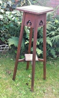 Vintage Two Tier Tall Plant Stand Torchere Jardiniere Hall Stool Table Arts Chic