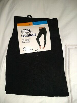 Leggings womens ladies Black Cotton mix Stetch Plain Full Length Size 10 - 12