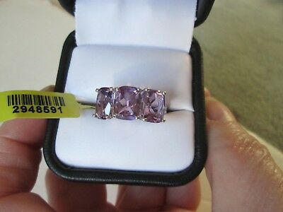 Rose De France Amethyst Platinum over Sterling Silver Ring (Size 7) TGW 6.20 cts