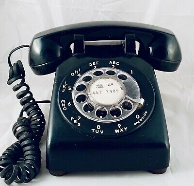 Vintage Black Bell System by Western Electric Rotary Dial Desk Telephone
