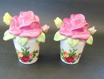 Royal Albert OLD COUNTRY ROSES Salt Pepper Shakers Sculpted