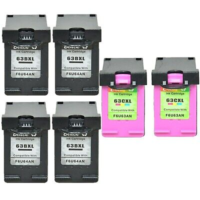 4PK Black + 2PK Color Ink Compatible with HP 63XL OfficeJet 4654 4655 3830 3831