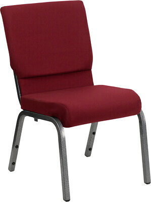 18.5'' Wide Burgundy Fabric Stacking Church Chair with Silver Vein Frame