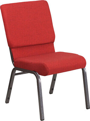 18.5'' Wide Red Fabric Stacking Church Chair with Silver Vein Frame