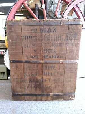 Antique Stanley Advertising Shipping Wood Crate Metal Banding Unique