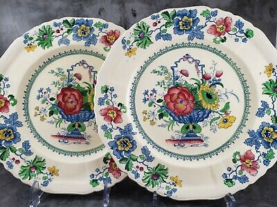 Set of 2 Dinner Plates in Strathmore Pattern (#C4792) by Mason's, England c1920s