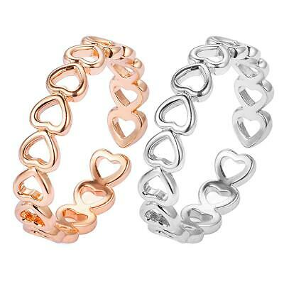 Hollow Heart Ring Silver Plated Adjustable Finger Rings Women Jewelry Gift  #S5