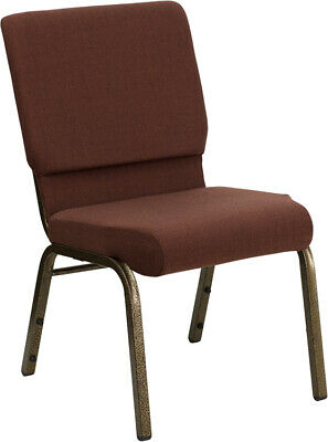 18.5'' Wide Brown Fabric Stacking Church Chair with Gold Vein Frame