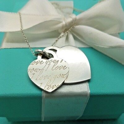 Authentic Tiffany & Co Sterling Silver I Love You Notes Double Heart Necklace