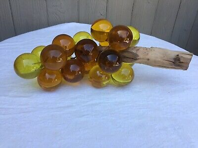 Large Vintage Lucite Acrylic Resin Grape Cluster on Driftwood Stem Amber 12""