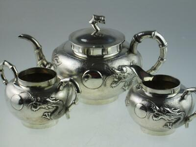 Antique 19th Century Chinese Dragon Solid Silver Teapot Set Circa 1890