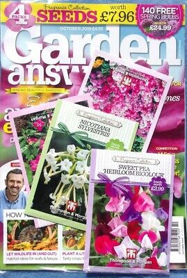 Garden Answers Magazine Issue October 2019 With 4 Packs Of Seeds ~ New ~