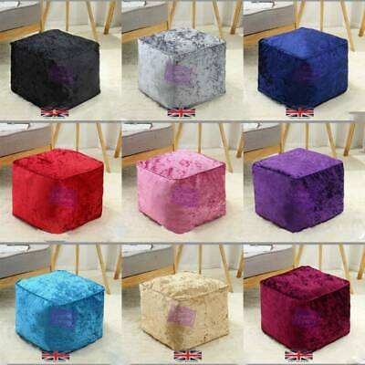 Crushed Velvet Filled Bean Bag Ottoman Chair Seat Teen Indoor Pouffe Beanbag