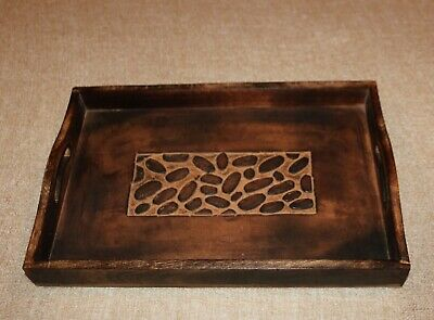Olive Wood Tea Tray With Sides & Handles 38Cm X 25Cm