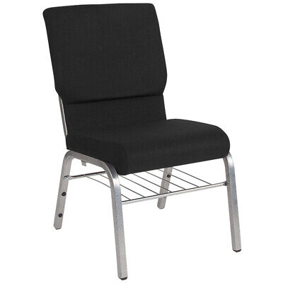 18.5'' Wide Black Fabric Church Chair with Book Rack & Silver Vein Frame