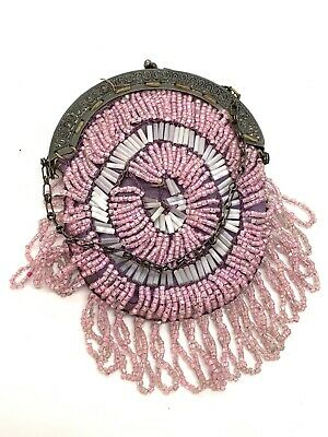 "ANTIQUE FLAPPER ART DECO MICROBEADED PINK GERMAN SILVER HAND BAG 4x3"" FRINGE"