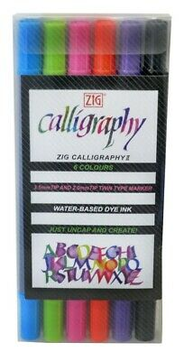 Zig Calligraphy II Dye Ink Markers- Set of 6 colorful dual-tip lettering pens